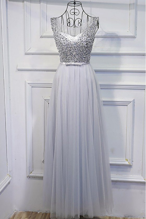 Silver Long Tulle Cheap Prom Dress With Sequins Bling