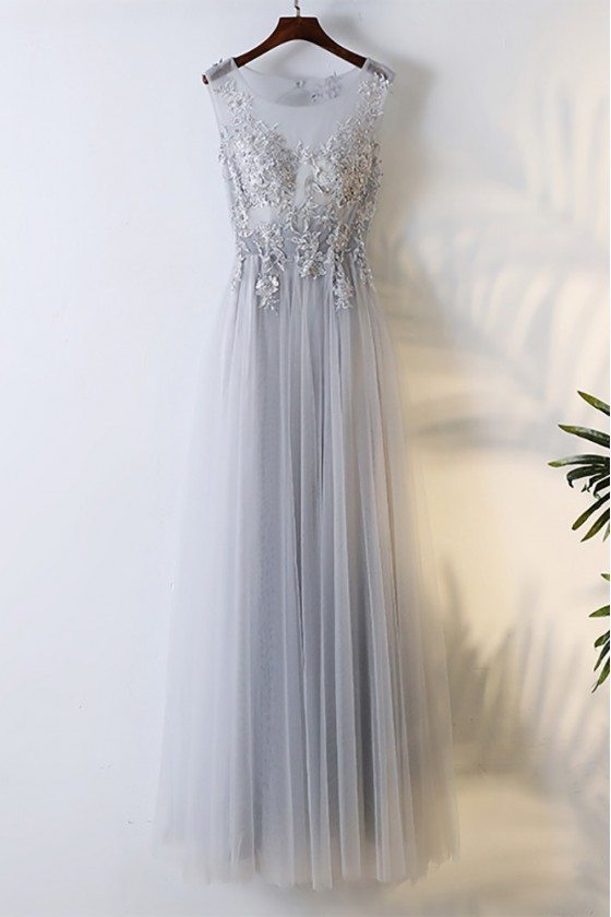 Flowy Grey Long Tulle Cheap Prom Dress With Lace Sleeveless