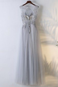 Flowy Grey Long Tulle Cheap Prom Dress With Lace Sleeveless - $109 ...