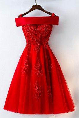 Short Off Shoulder Red Lace...