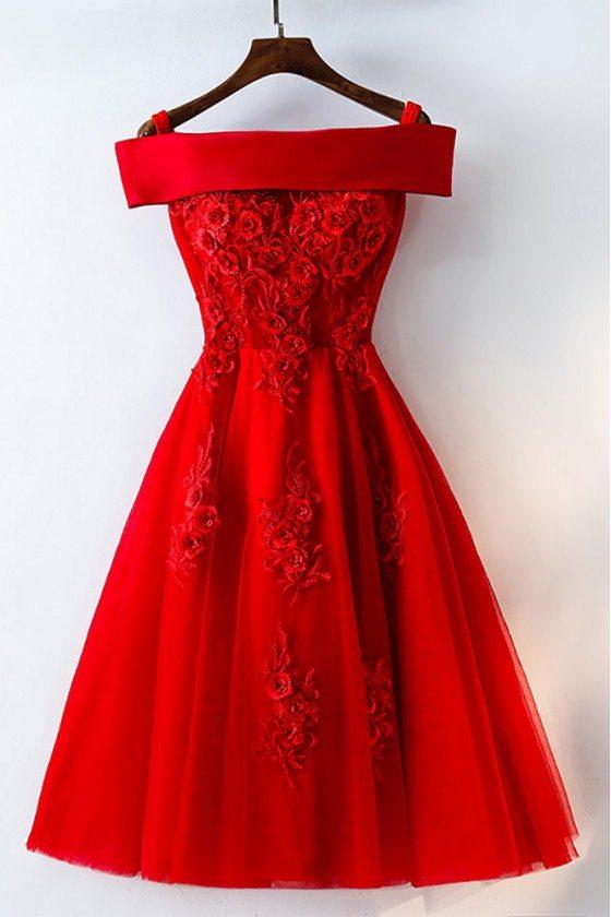 Short Off Shoulder Red Lace Bridal Party Dress