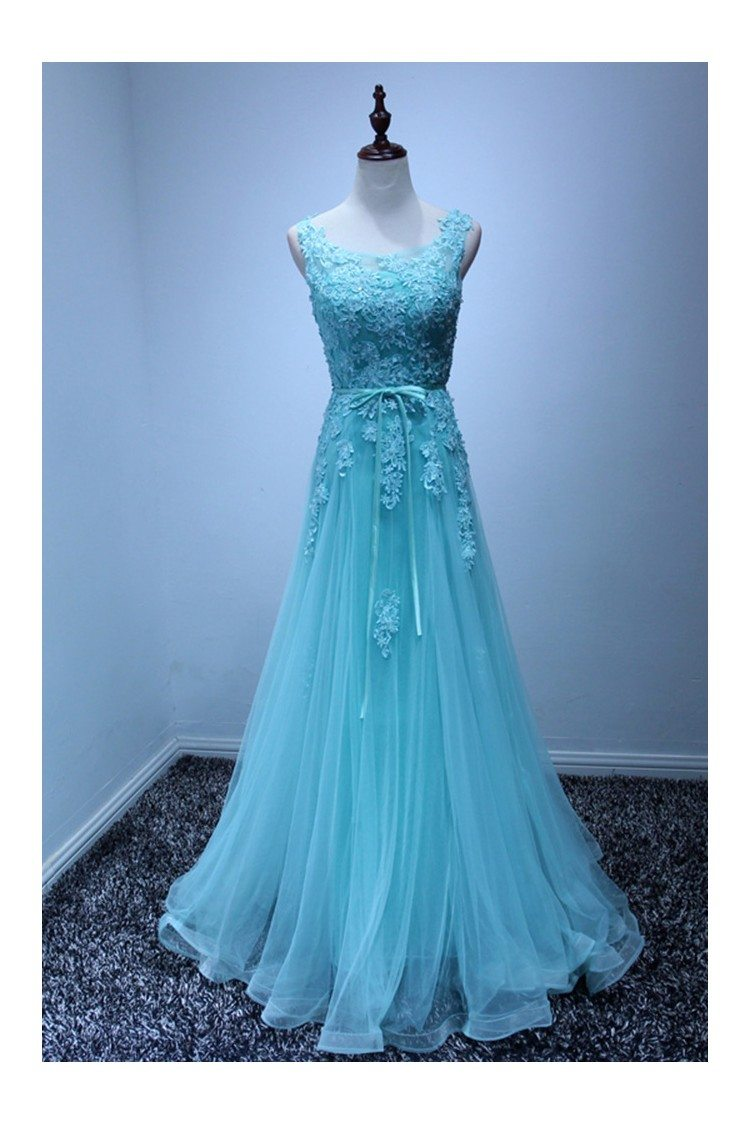 Gorgeous Blue Lace Prom Dress Beaded 2018 Long For Women