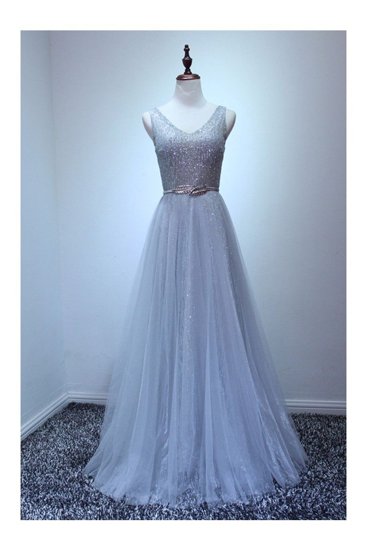 Petite Sparkly Sequined Grey Formal Dress Long For Women - $149 ...