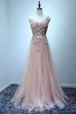 Sparkly Nude Pink Long Prom...