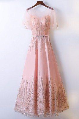 Elegant Long Pink A Line...