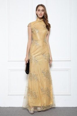Yellow Qipao Style Embroidery Long Formal Gown
