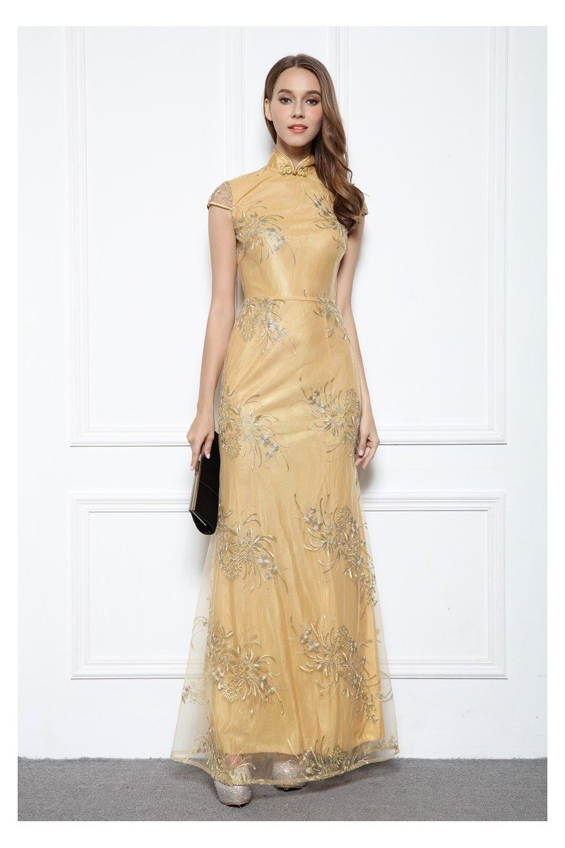 Yellow Qipao Style Embroidery Long Formal Gown - $92 #CK562 ...