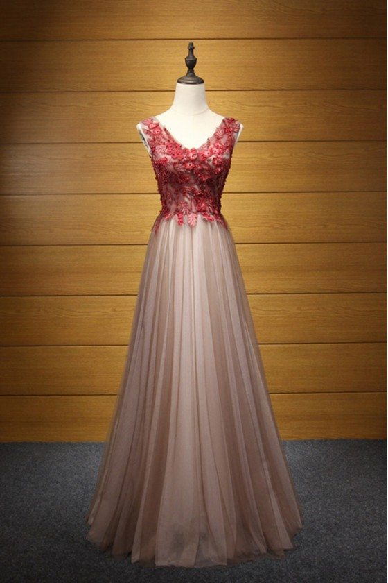 Beautiful Long Black Formal Dress With Red Applique Lace Beading