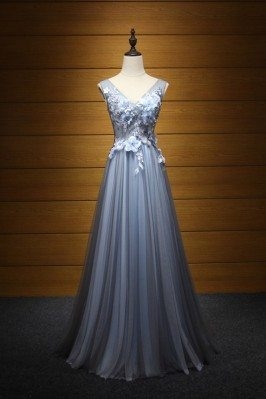 Flowy Tulle Blue-black Prom...