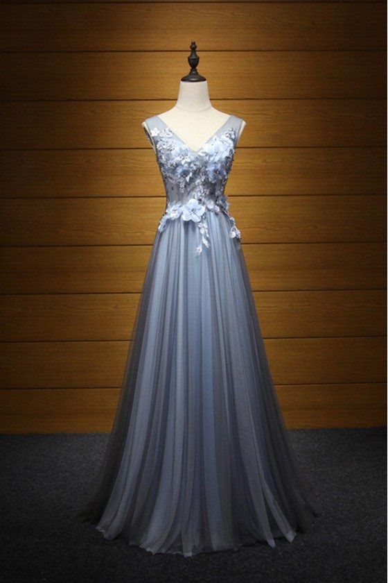 Flowy Tulle Blue-black Prom Dress With Beading Flowers For Teens