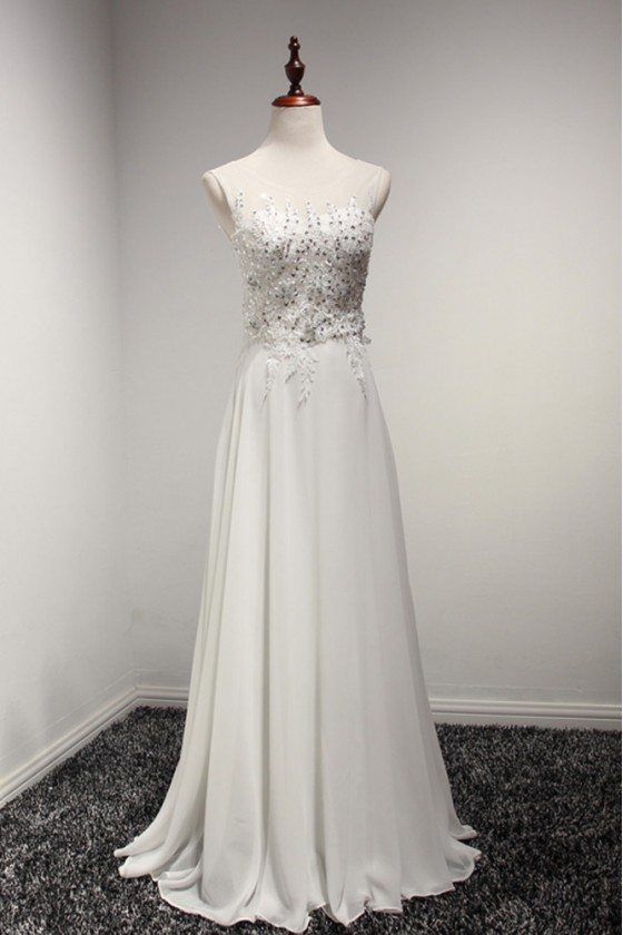 Elegant White Chiffon Prom Formal Dress With Sequied Lace 2018