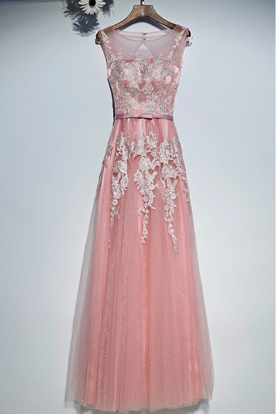 Gorgeous Long Pink White Lace Prom Dress Cheap Sleeveless