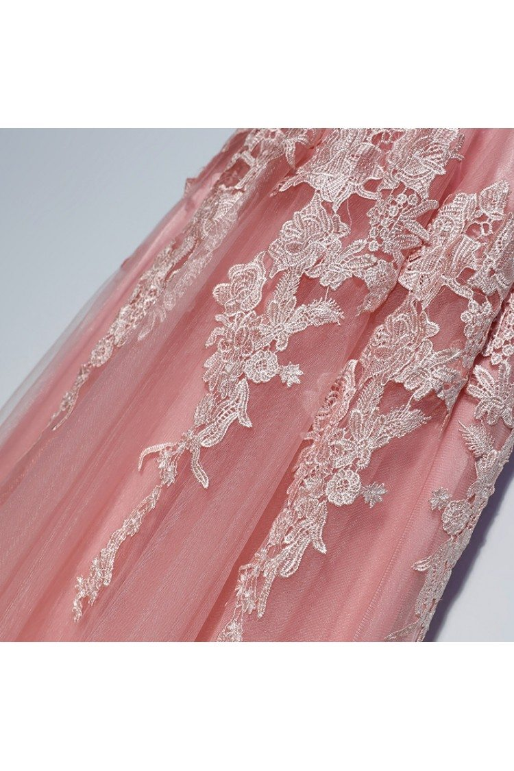 Gorgeous Long Pink White Lace Prom Dress Cheap Sleeveless - $99 ...