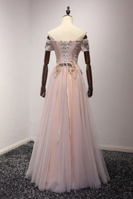 Off the Shoulder Special Pink Long Evening Dresses 2013 for Women sha708