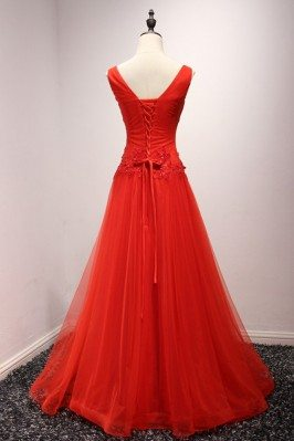 Women's Elegant Hot Red Tulle Party Dresses with Puffy Sleeves sha685
