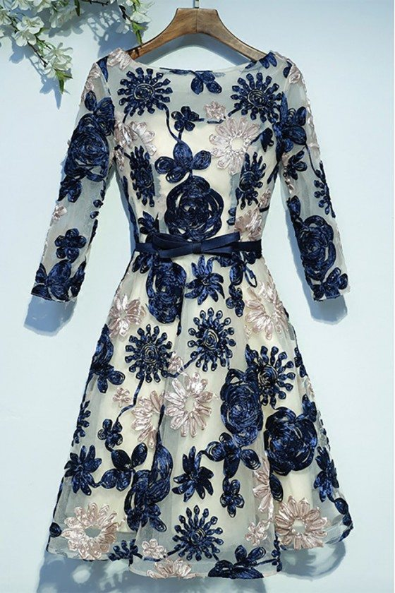Unique Navy Blue 3/4 Sleeve Short Formal Party Dress With Appliques
