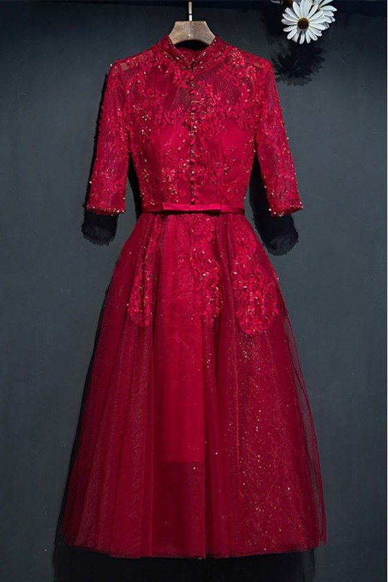 Burgundy Vintage High Neck Short Party Dress With Sleeves For Weddings