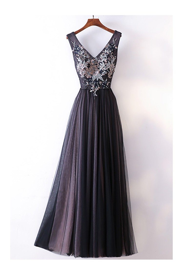 Different Long Black V Neck Cheap Prom Dress With Lace