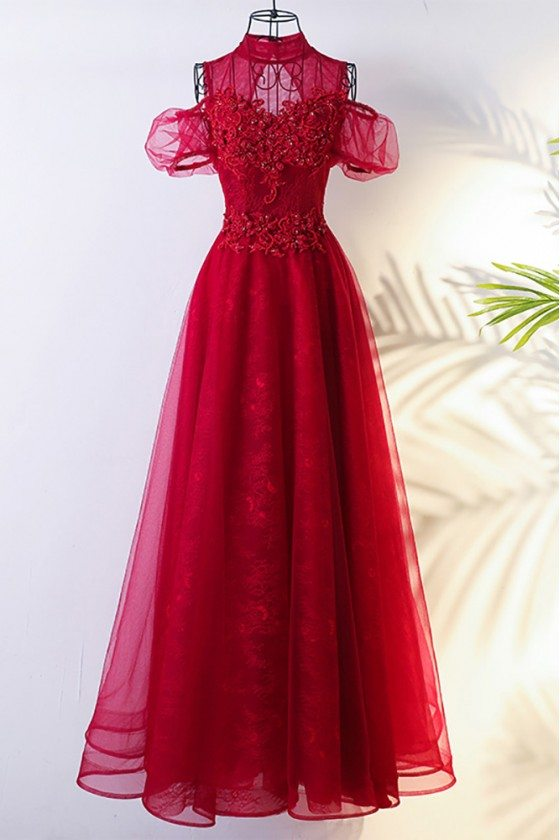 Lolita Long Tulle Burgundy Formal Party Dress With High Neck
