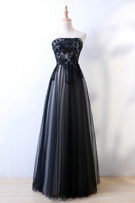 Strapless Sheath Long Black...