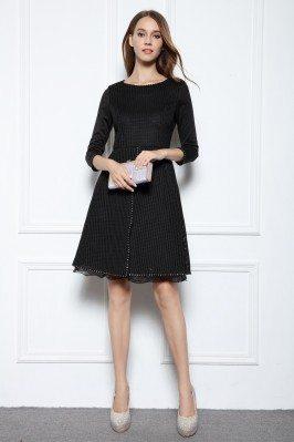 Black Beaded A-line 3/4 Sleeve Short Dress