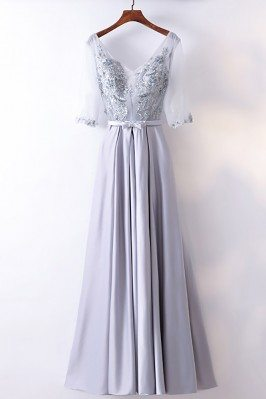 Gorgeous Silver Satin Long...