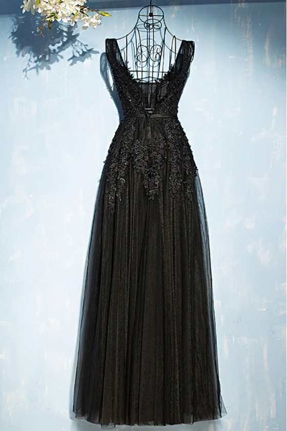Classic Long Black Lace Tulle Prom Dress V-neck Sleeveless - $109 ...
