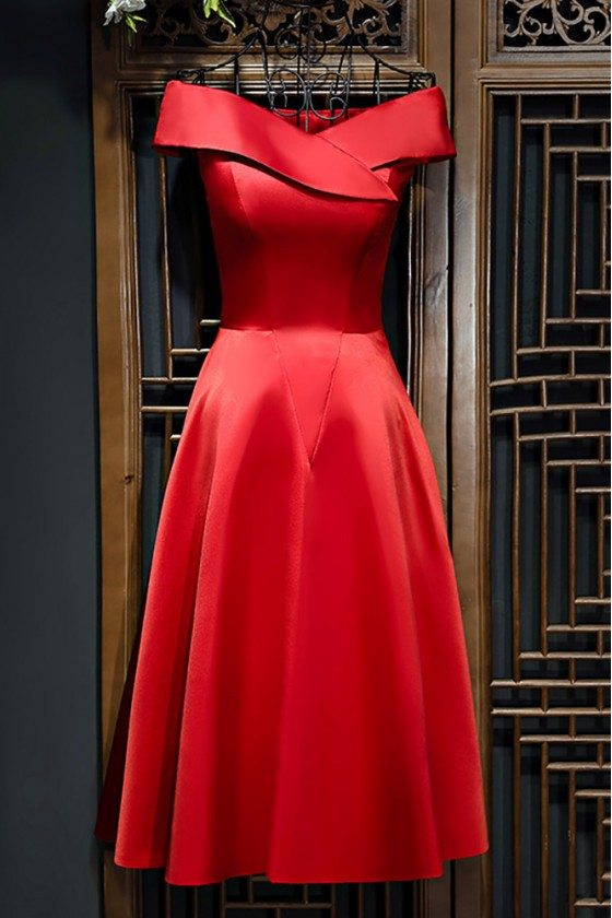 Simple Chic Off Shoulder Satin Short Party Dress For Weddings