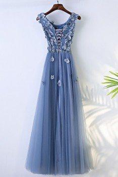 Trendy Dusty Blue Flowy Prom Dress Long With Flower Petals