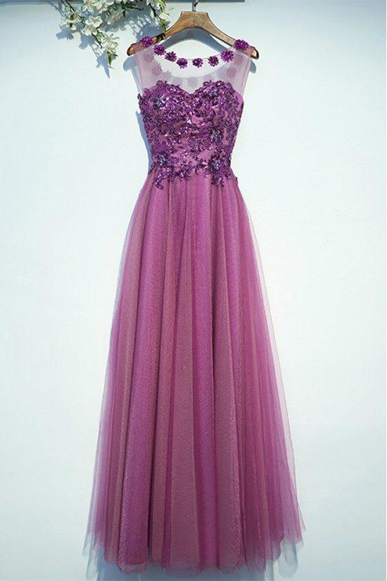 Purple Appliques A Line Cheap Prom Dress Long Sleeveless