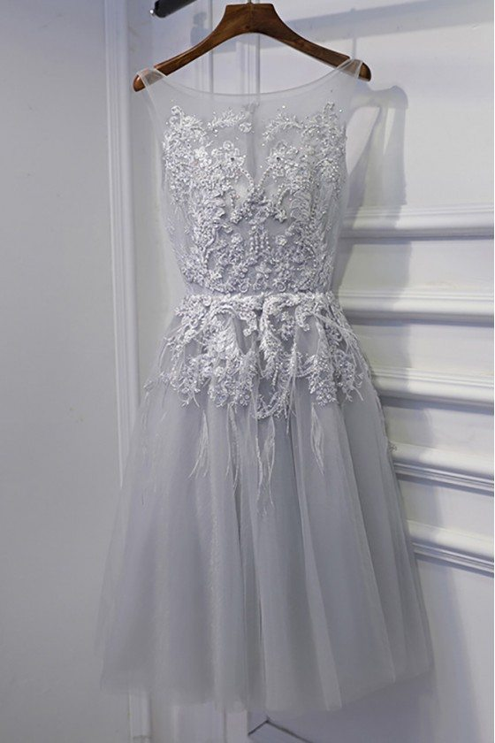 Short Grey Lace Homecoming Party Dress For Teens
