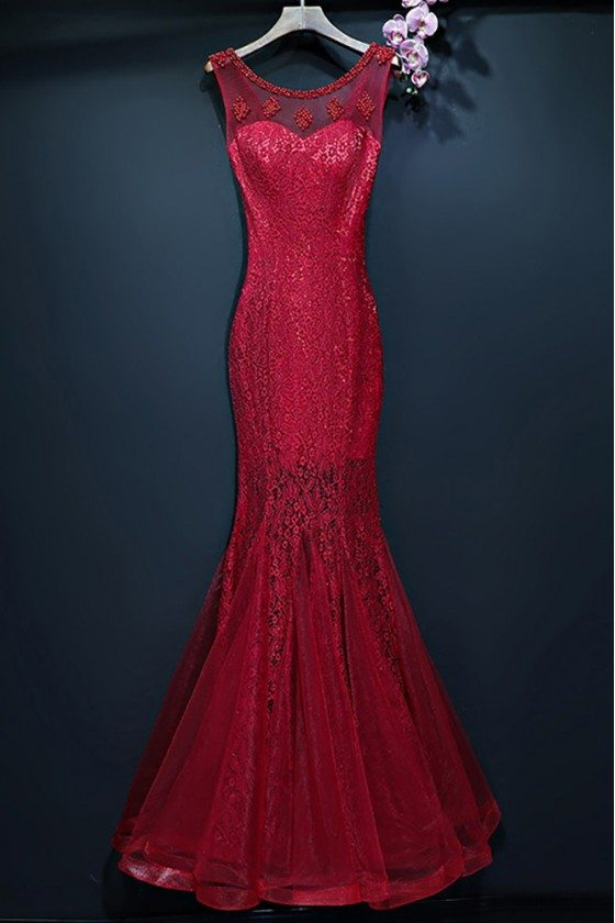 Burgundy Slim Long Mermaid Formal Dress With Lace Sleeveless