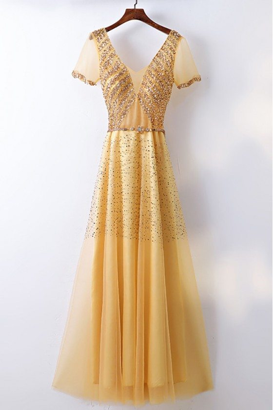 Bling Blig Sparkly Gold Formal Prom Dress With Sleeves