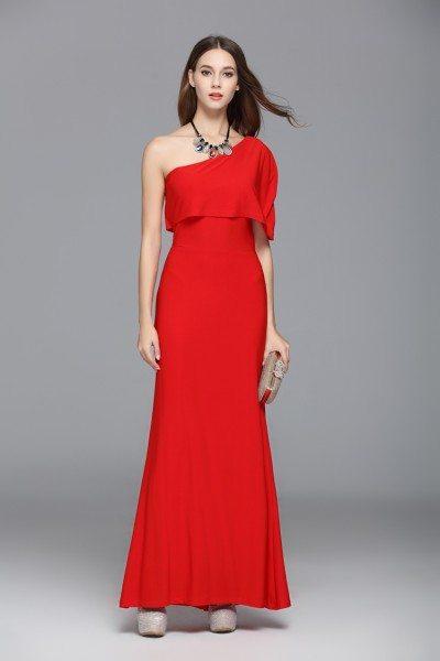 Simple One Shoulder Formal Long Dress