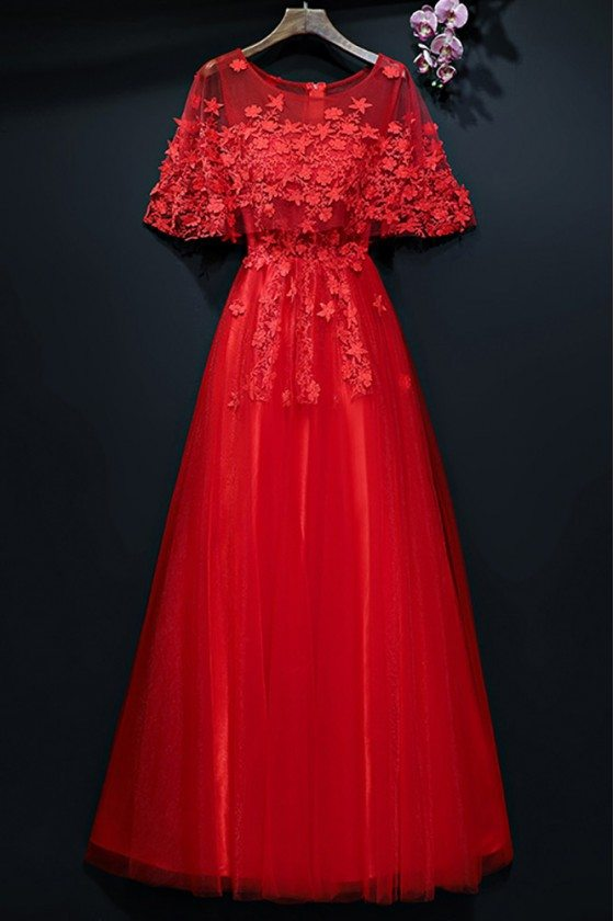 Cute Long Red Bridal Party Dress With Cape Sleeves