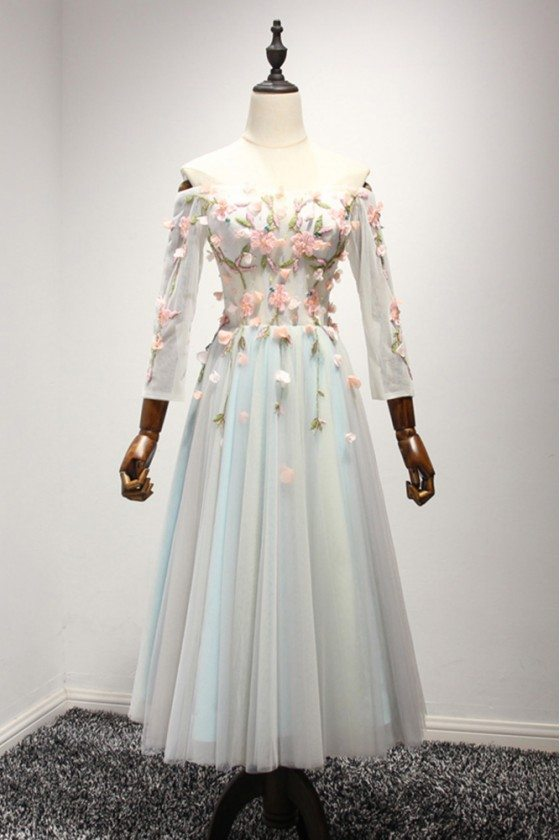 Off The Shoulder Midi Prom Formal Dress With Floral Sleeves