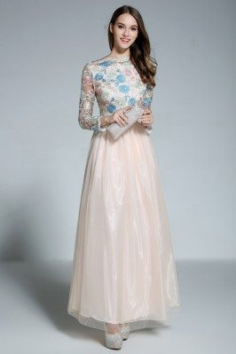 Embroidery Flowers Long Sleeve Party Dress