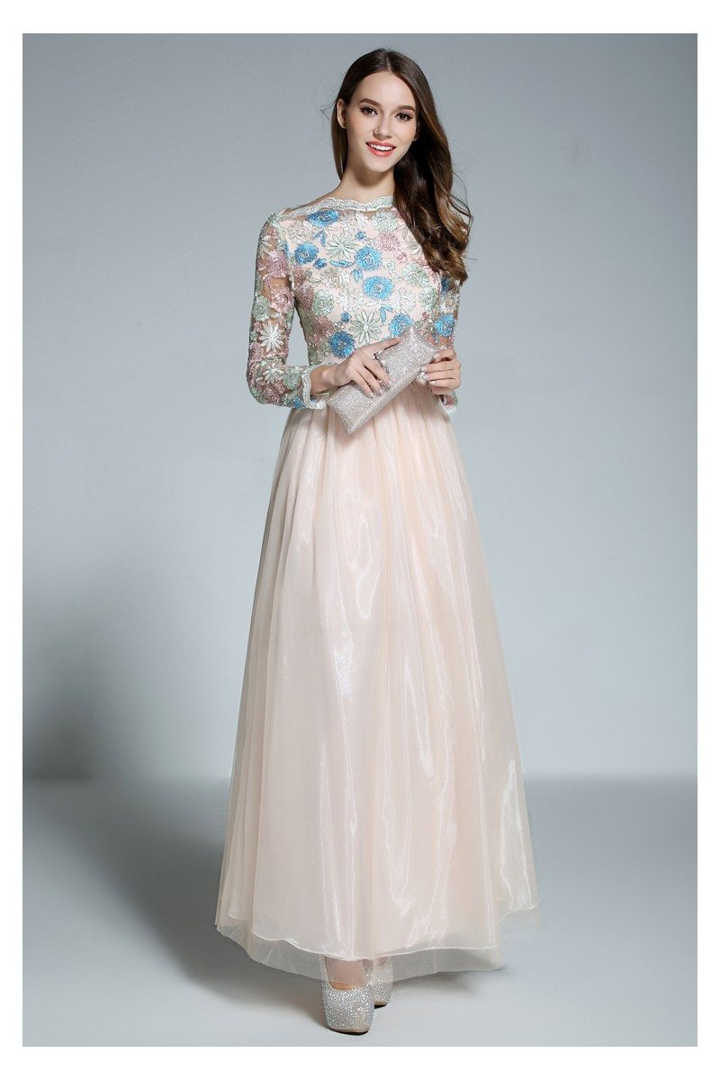 Embroidery Flowers Long Sleeve Party Dress - $95 #CK585 - SheProm.com