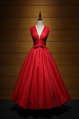 Simple Red V Neck Maxi...
