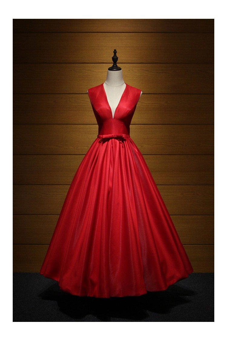 Simple Red V Neck Formal Dress Ball Gown Long For 2018 Weddings ...