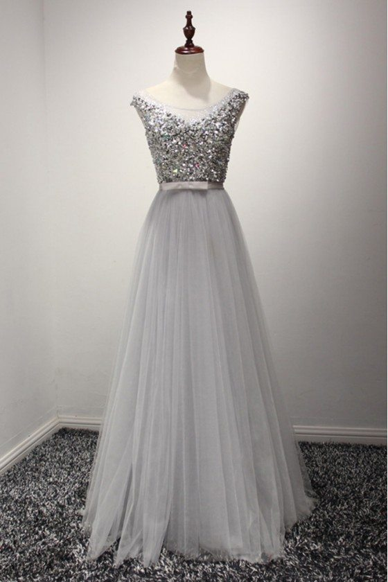 Sparkly Sequined Grey Formal Dress Long For Weddings 2018