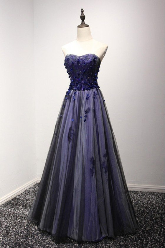 Different Blue-black Long Prom Dress With Floral For Curvy Girls