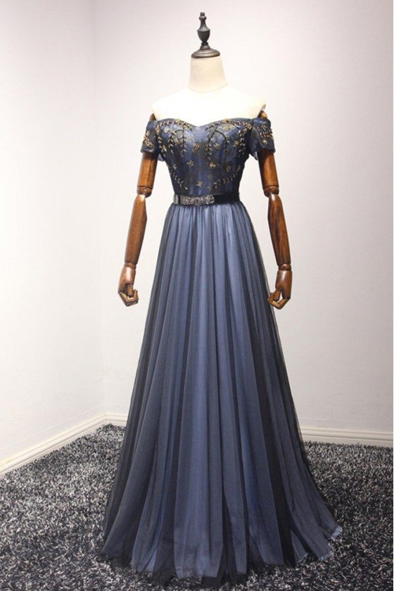 Bluish Black Beaded Long Formal Dress In Off The Shoulder Style