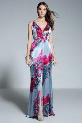 Deep V-neck Slit Printed Long Formal Dress