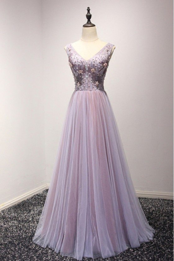Elegant Lilac Long Formal Dress For Homecoming With Sweetheart Beading