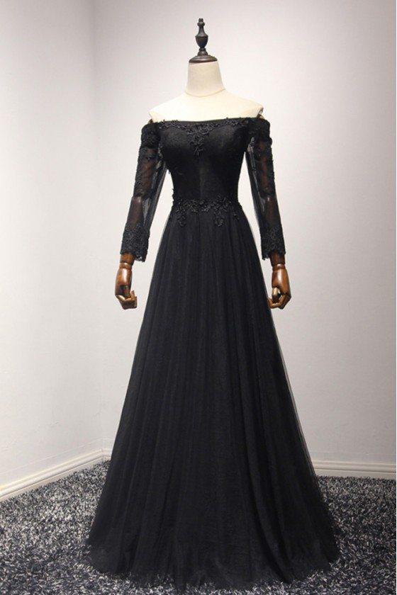 Classic Black Long Tulle Formal Dress With Off The Shoulder Sleeves
