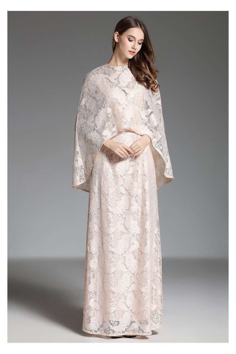 Cape Style Two Piece Lace Long Evening Dress - $97 #CK592 - SheProm.com