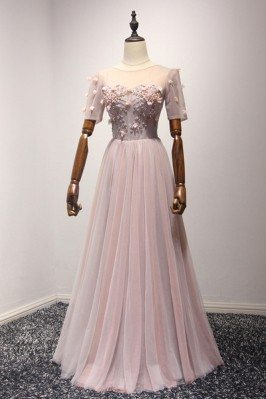Long Pink Fitted Evening Dresses for Petite Women 2013 sha746
