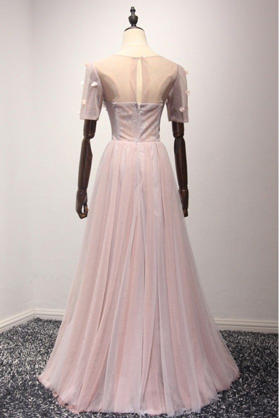 Modest Long Pink Semi Formal Dress With Sleeves For Gilrs 2018