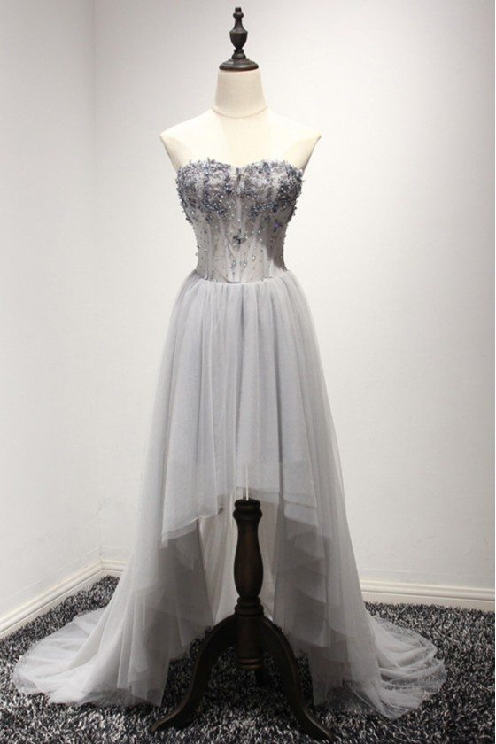 Elegant High Low Grey Tulle Formal Dress With Sequins For Women